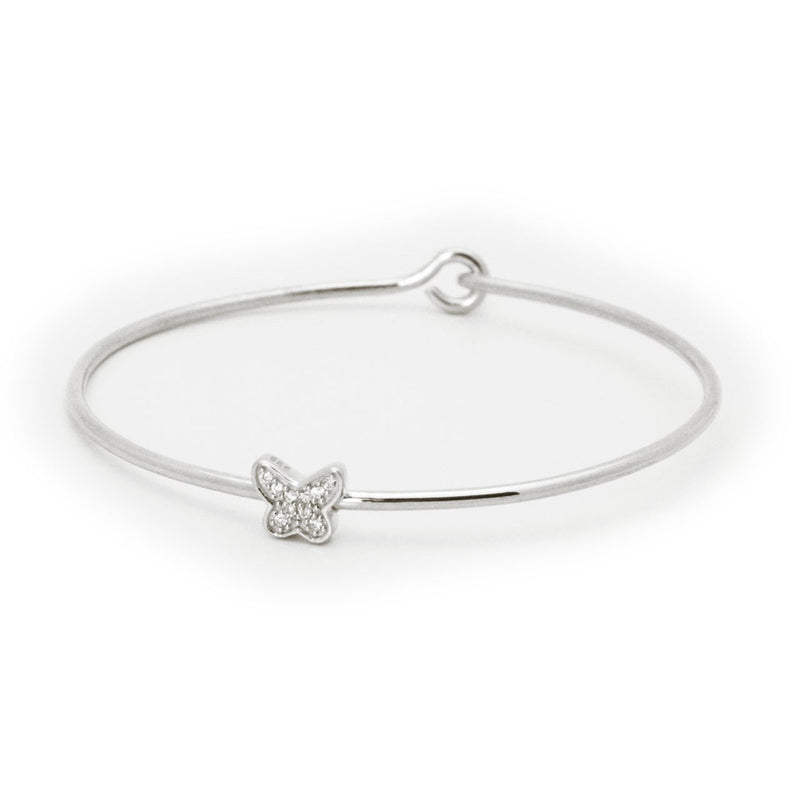 Thin CZ Butterfly Bangle