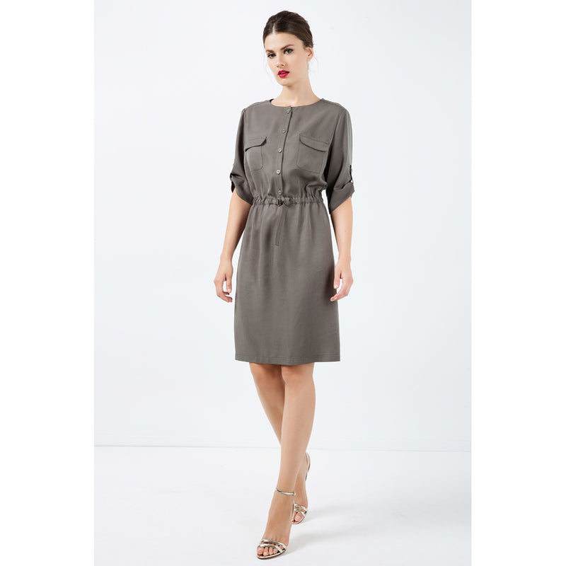 Straight Khaki Tencel Dress with Belt Detail