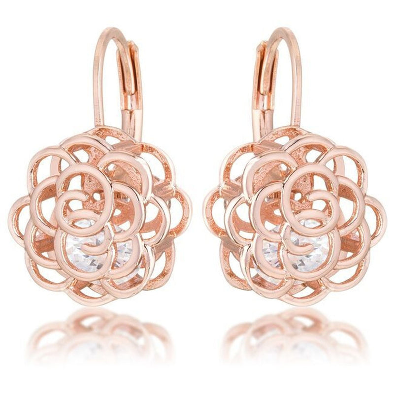 Rose Gold Flower Cage Earrings