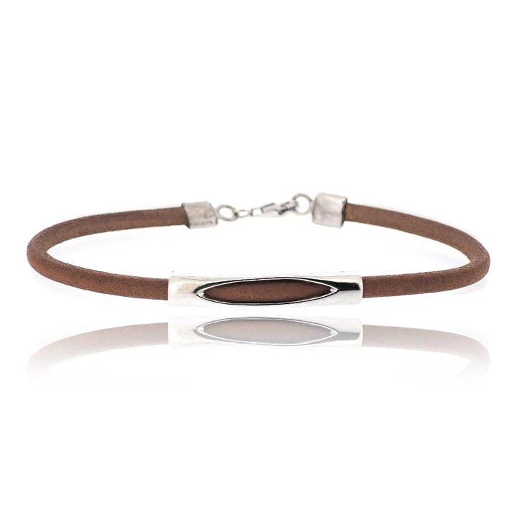 BROWN PIPE LEATHER BRACELET