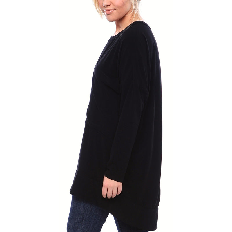 Crewneck Matte Crepe Tunic with Oversized Pocket and Full Sleeves in Black