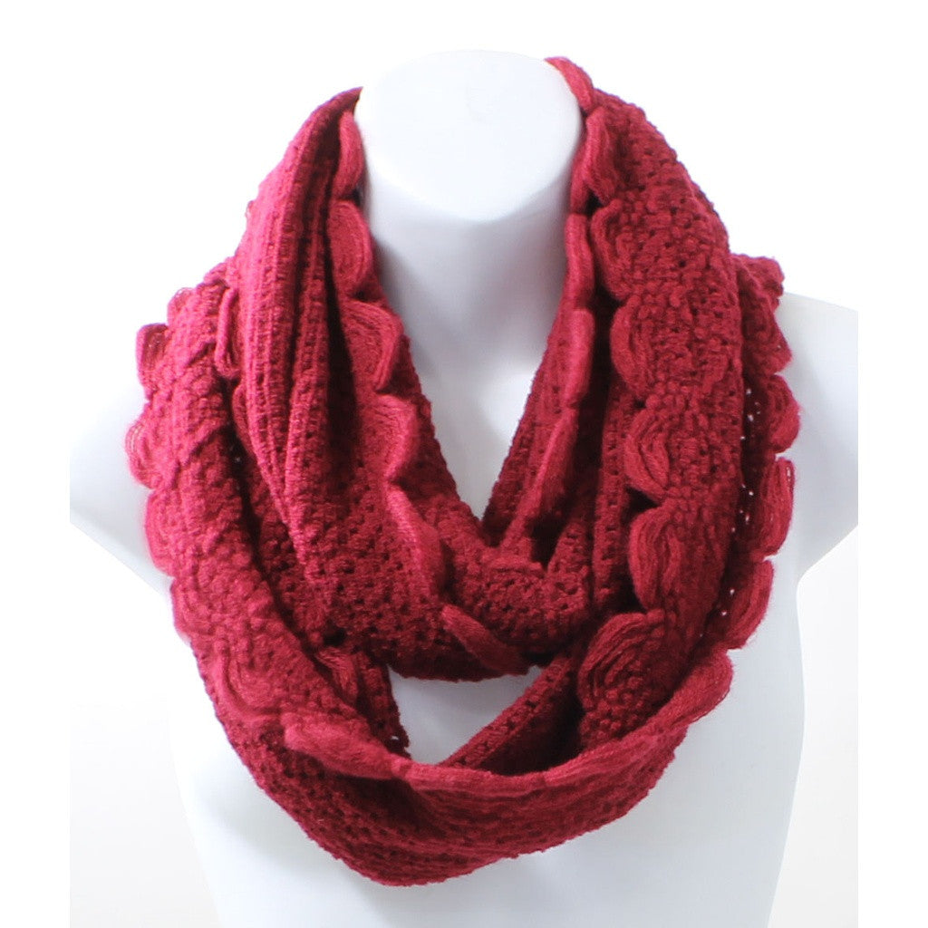 Scallop Edge Red Winter Infinity Scarf