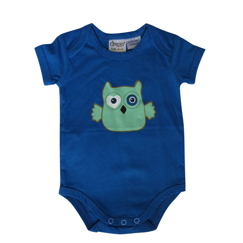 Owl on Aqua - Baby Suit