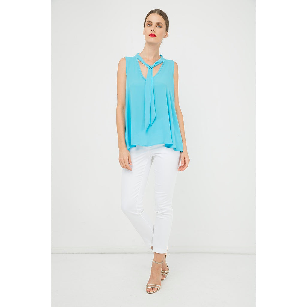 Turquoise Sleeveless Tie Detail Top