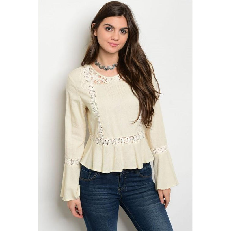 Women's Beige Bell Sleeve tops