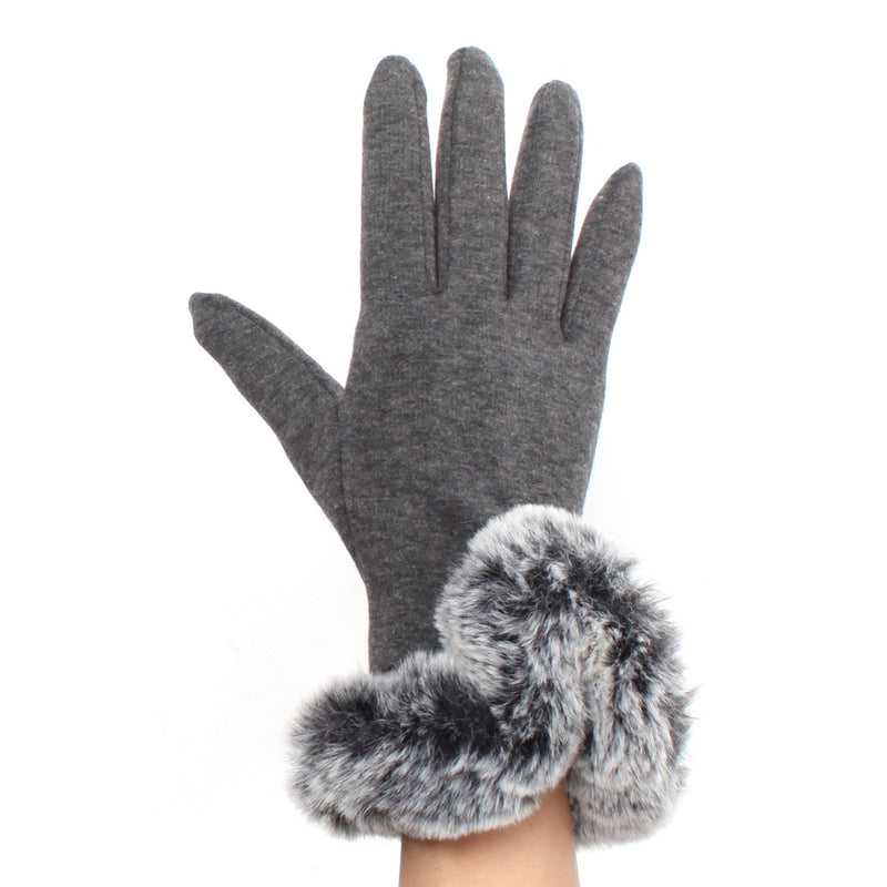 Womens Gray Touch Screen Gloves with Faux Fur Cuff