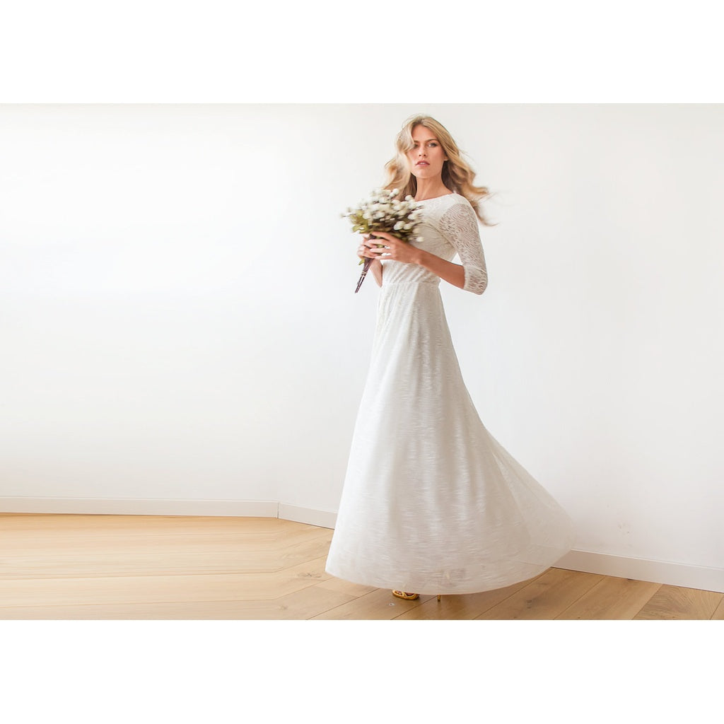 Long Sleeve Ivory Floral lace Bridal Gown With Open Back 1118