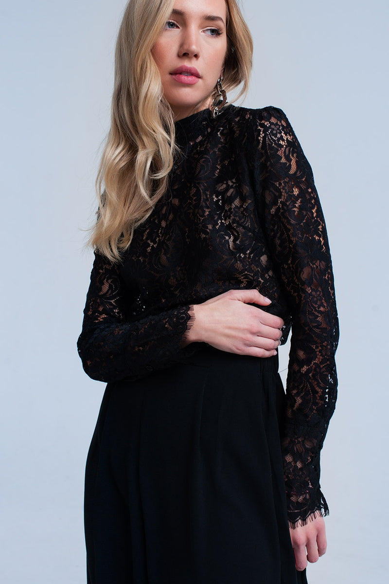 Black transparent lace shirt