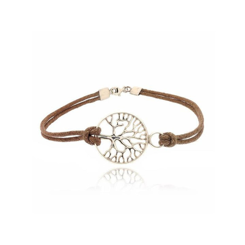 BEIGE TREE OF LIFE CORD BRACELET