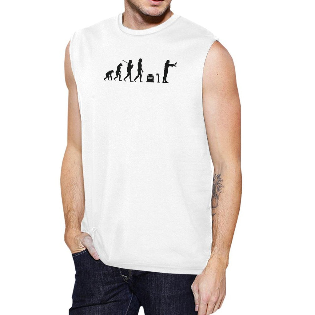 Zombie Evolution Mens White Muscle Top