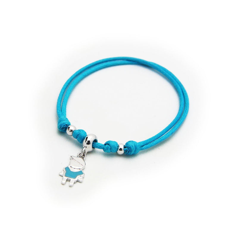 BecKids Blue Cord Bracelet Little Boy Enamel Charm   Sterling Silver, Adjustable