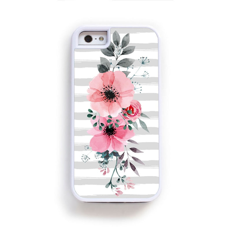 Pink anenomie and gray leaves vertical pattern on gray stripes for iPhone 6
