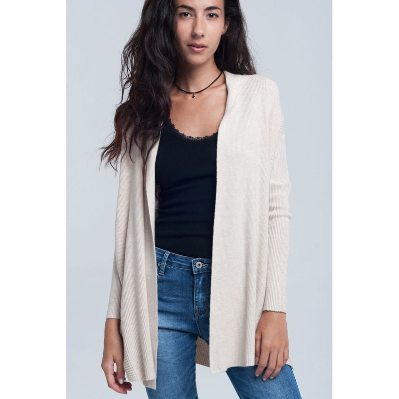 Ribbed oversized cardigan in beige