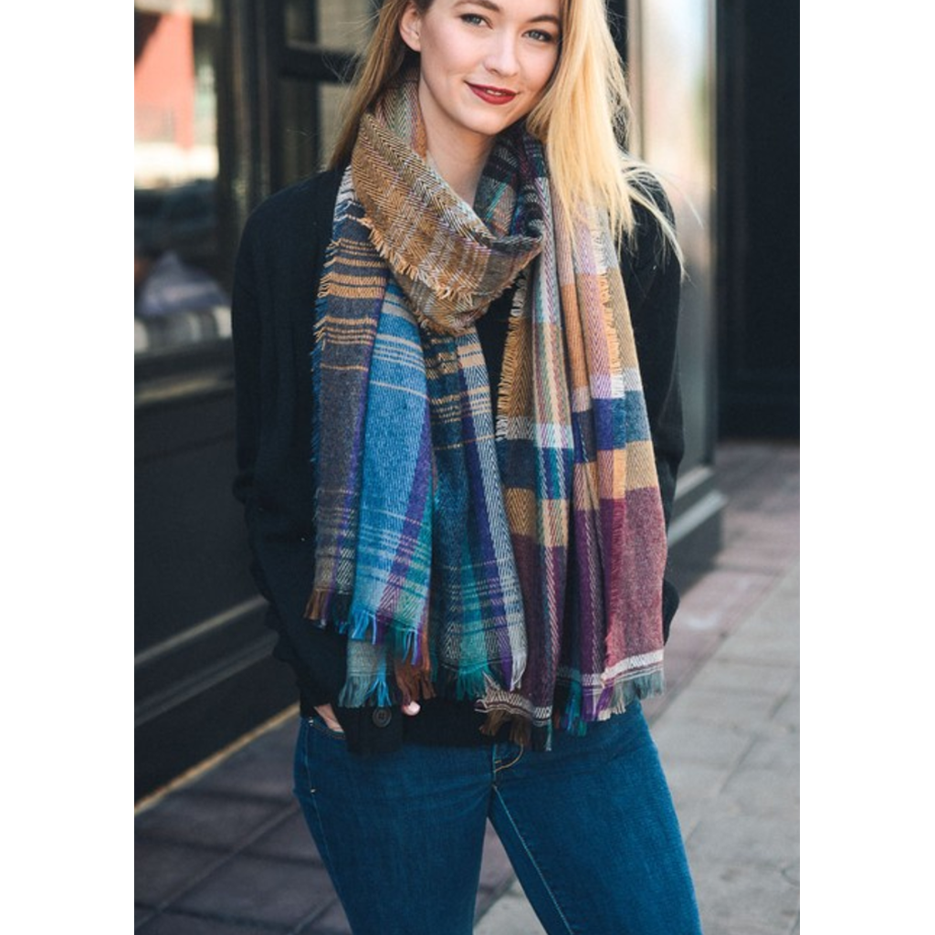 Beautiful Camel Mix Plaid Winter Long Fringe Scarf
