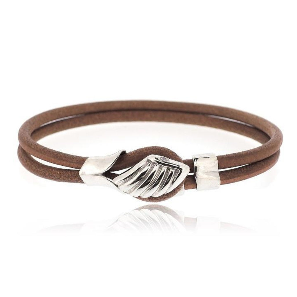 BROWN ANGLE WING LEATHER BRACELET