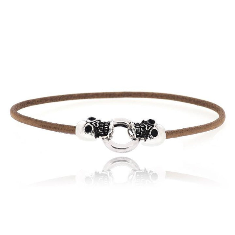 BROWN SKULL LEATHER BRACELET
