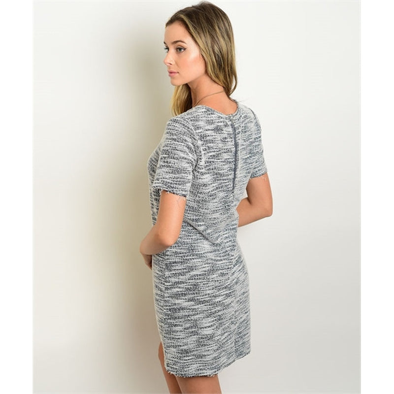 Women's Dress Grey And White Shift Mini Dress