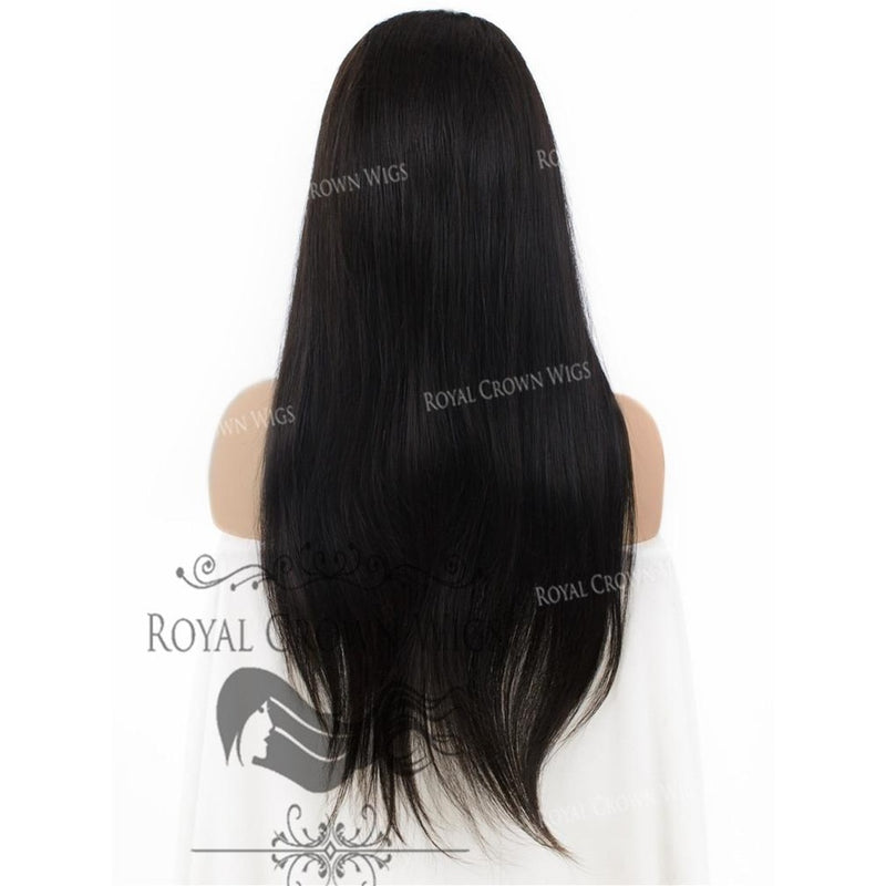22 Inch Lace Front with Lace Top Human Hair Wig with Straight Texture in Natural Color 130% Density