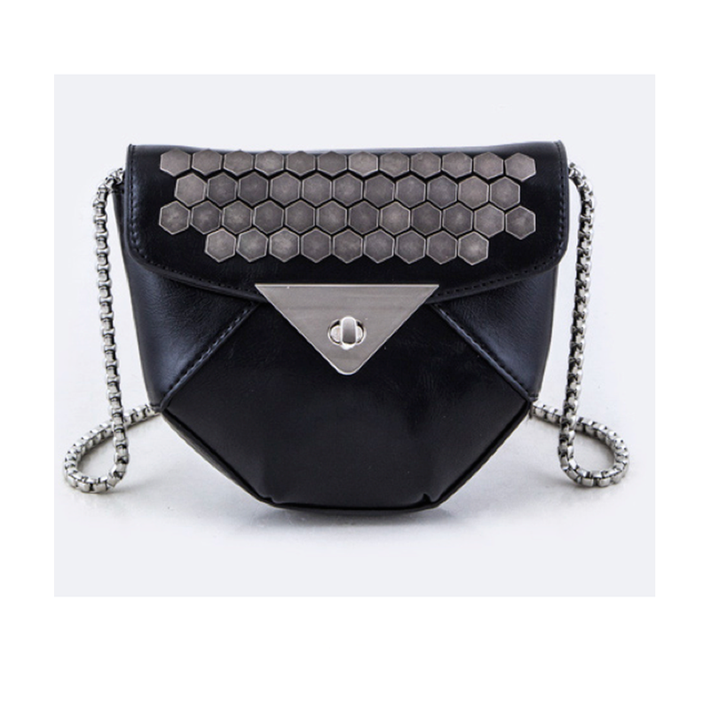 Black Studded Faux Leather Bag