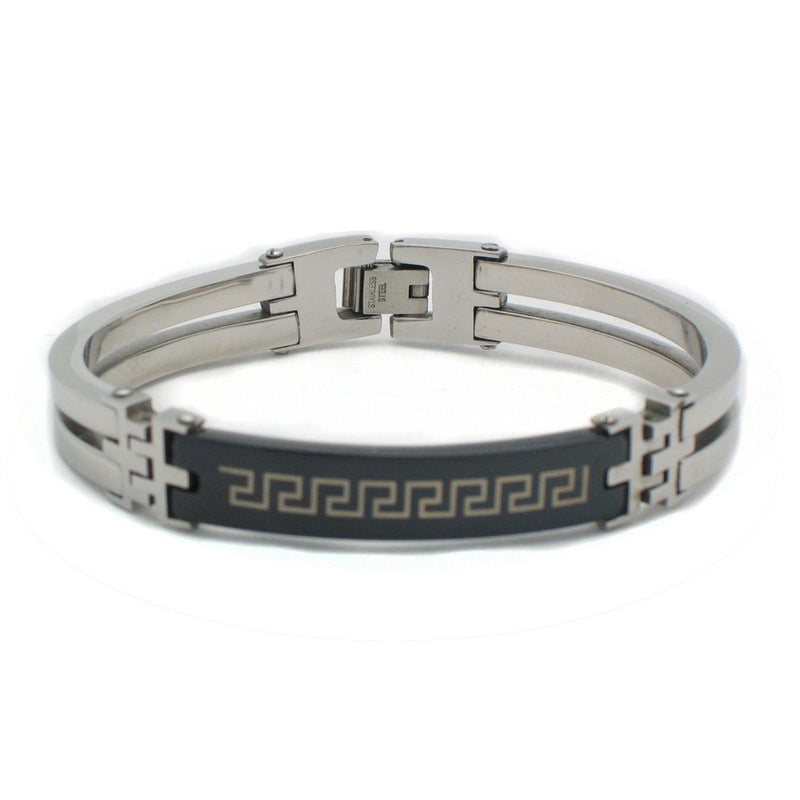 Beitzim Mens Greca Black Alloy Stainless Steel Bracelet
