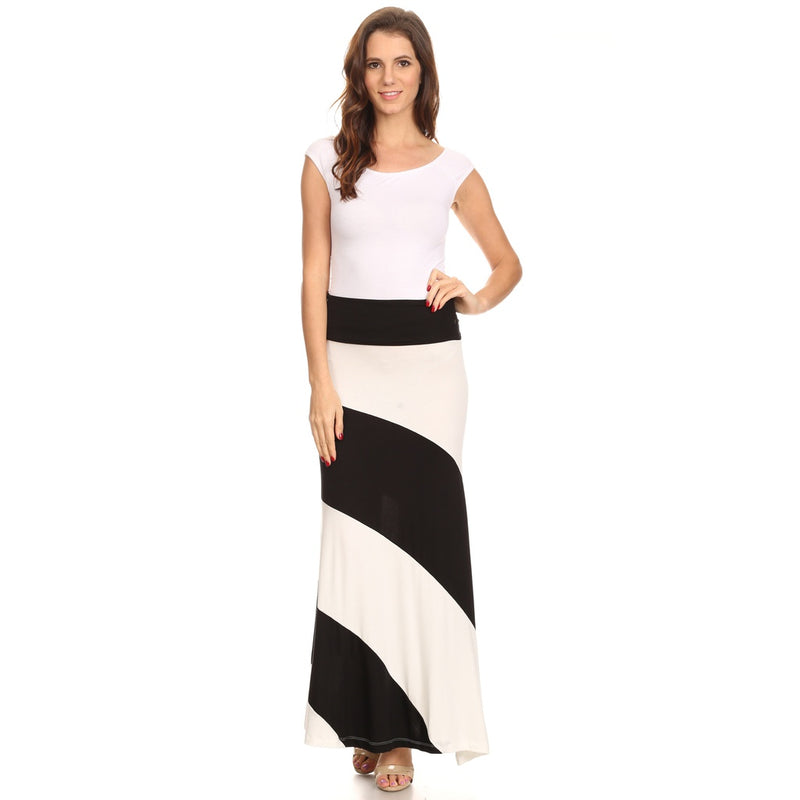 Women's Striped Maxi Skirt with Waist Band