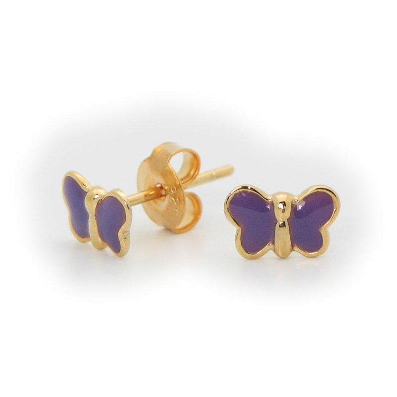Beckids Silver Purple Enamel Butterfly Stud Earrings in Vermeil