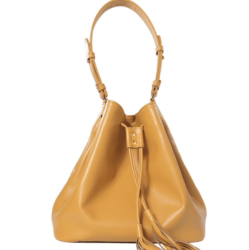 Large Buffed Calf Leather Bucket Tote Camel