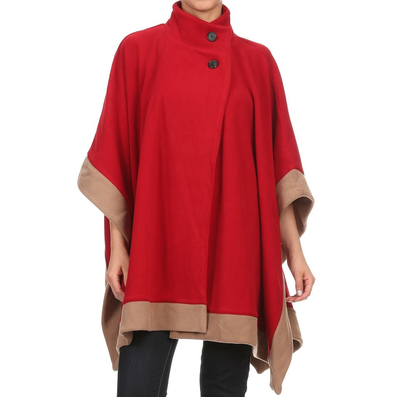 Womens Short Fleece Poncho