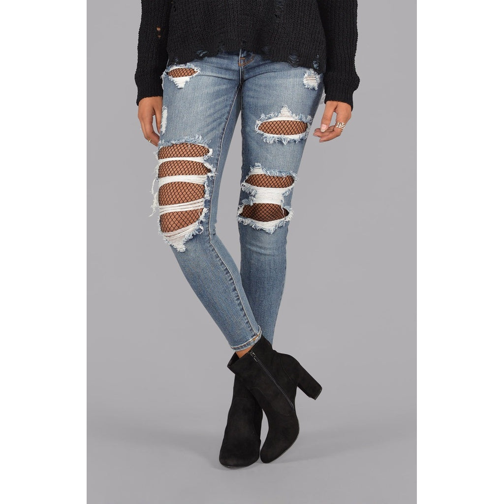 Fishnet Crop Skinny Jeans