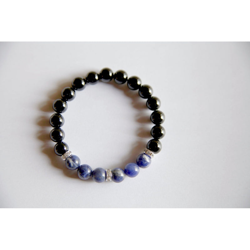 The Throat Chakra - Genuine Black Onyx & Sodalite Bracelet
