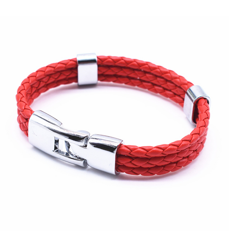 Triple Braided Leather Bracelet - Red