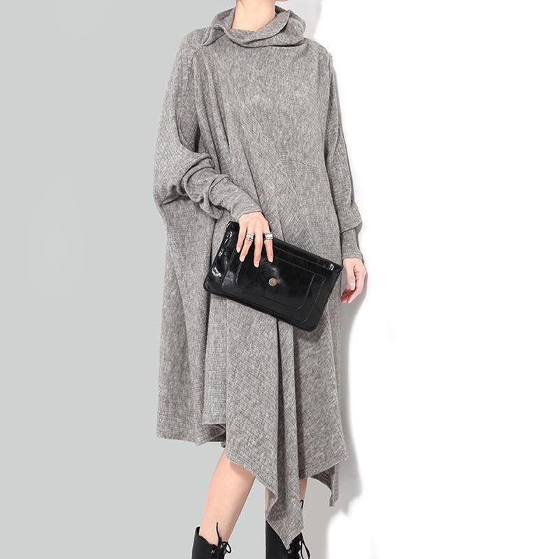 Bonhoeffer Asymmetrical Scarf Dress - Gray