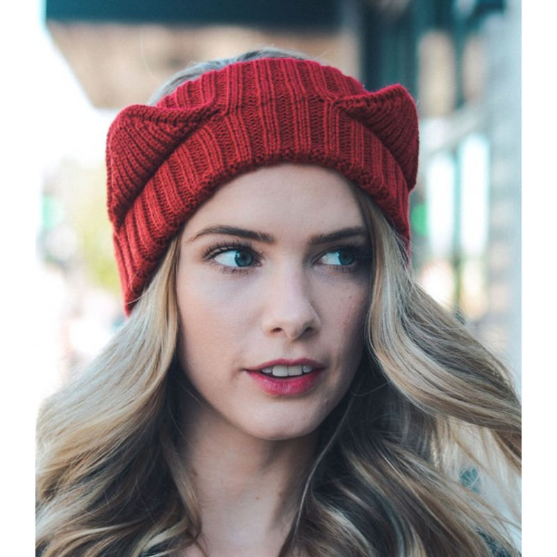 Red Cat Ears Knit Headband