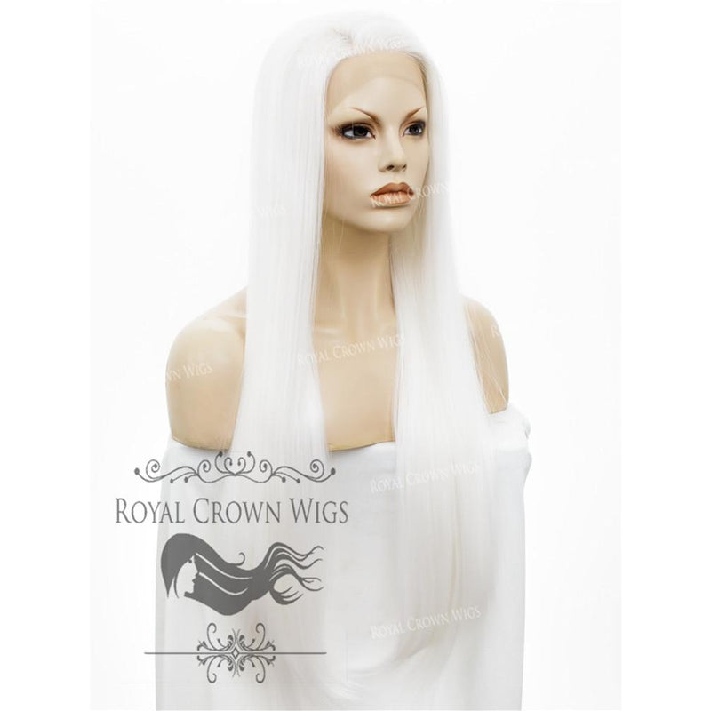"30"" Heat Safe Synthetic Straight Lace Front ""Hera"" in White"