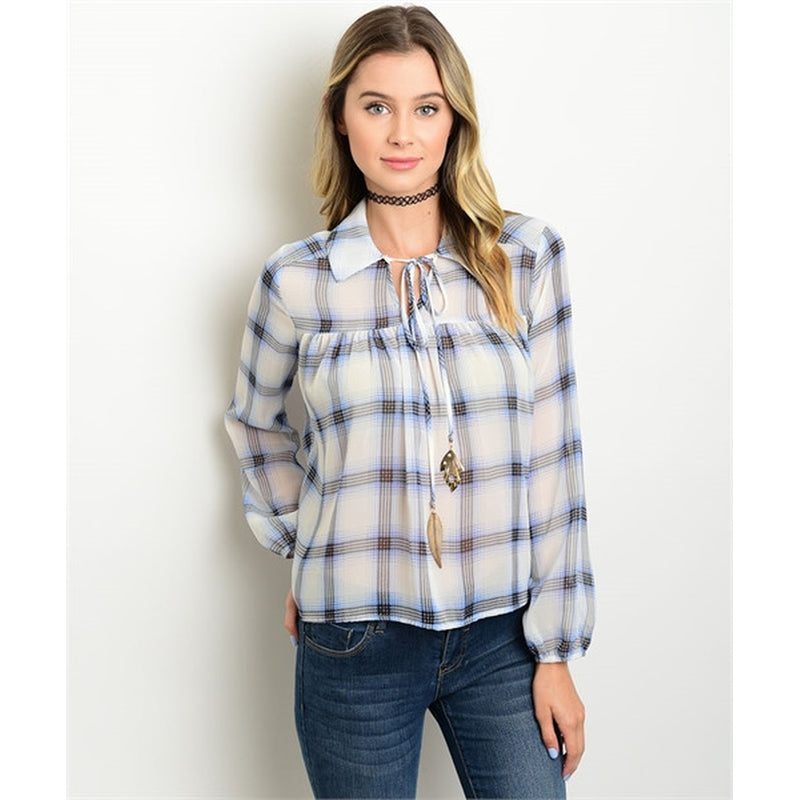 Women's Plaid Tunic Blue Printed Blouse