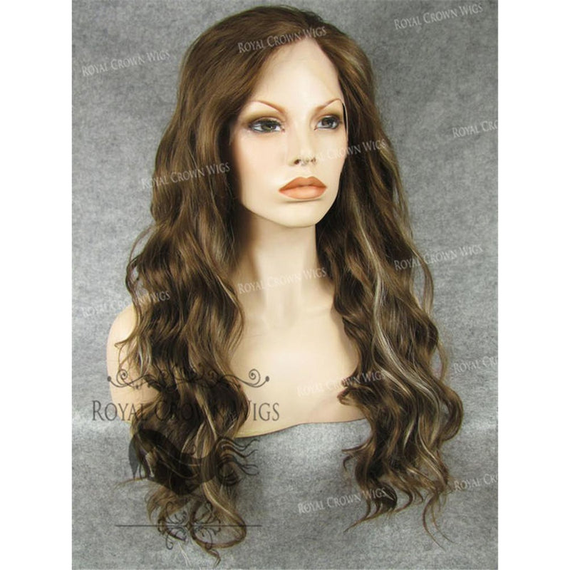 "24"" Synthetic Lace Front with Wave Texture in Brown with Platinum Highlights"