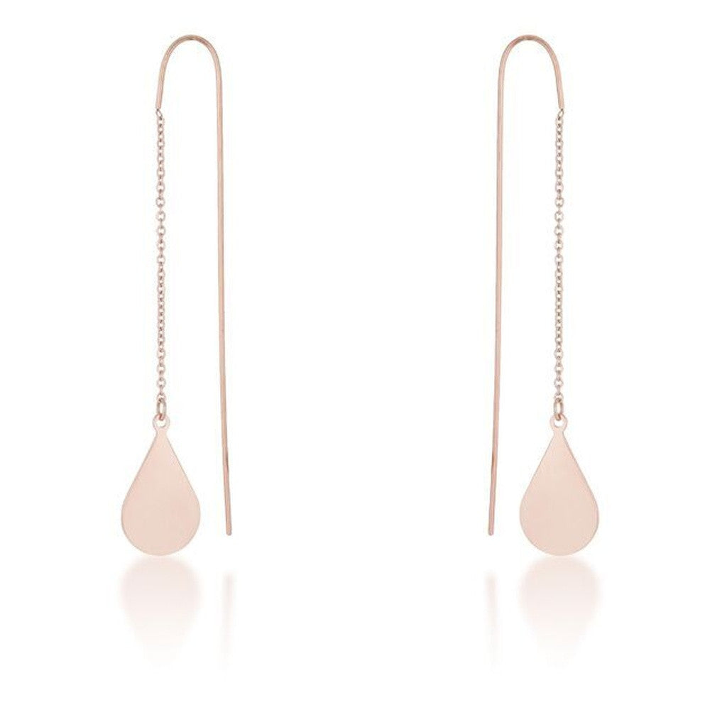 Rose Gold Threaded Teardrop Earrings