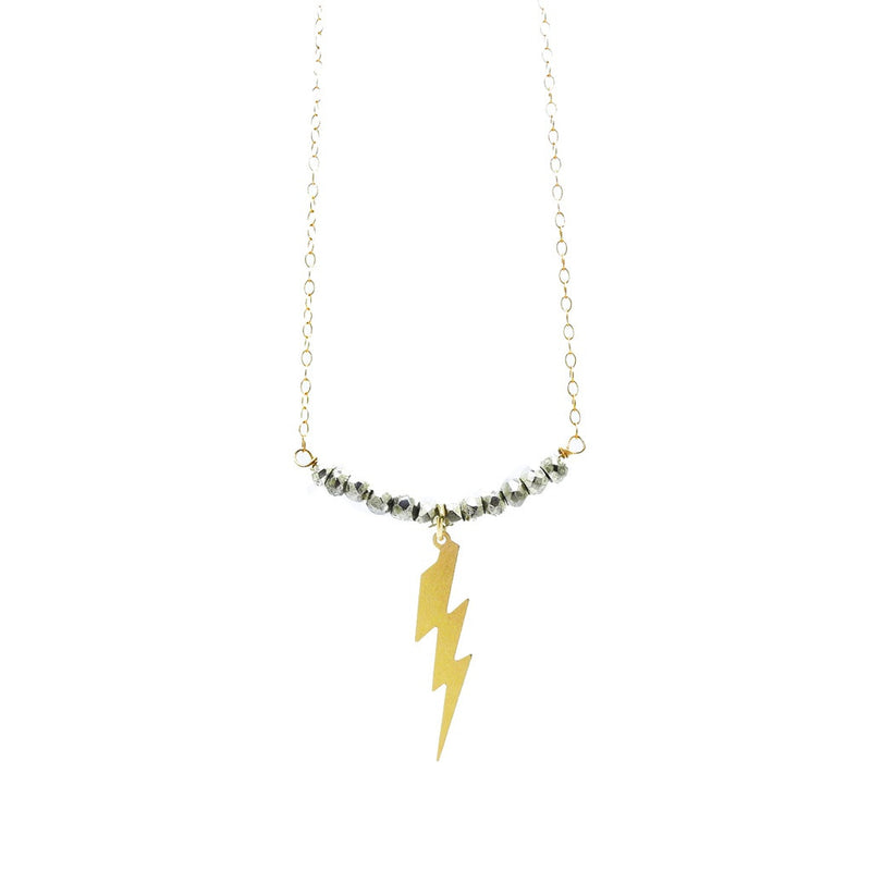 Pyrite Lightning Bolt Necklace