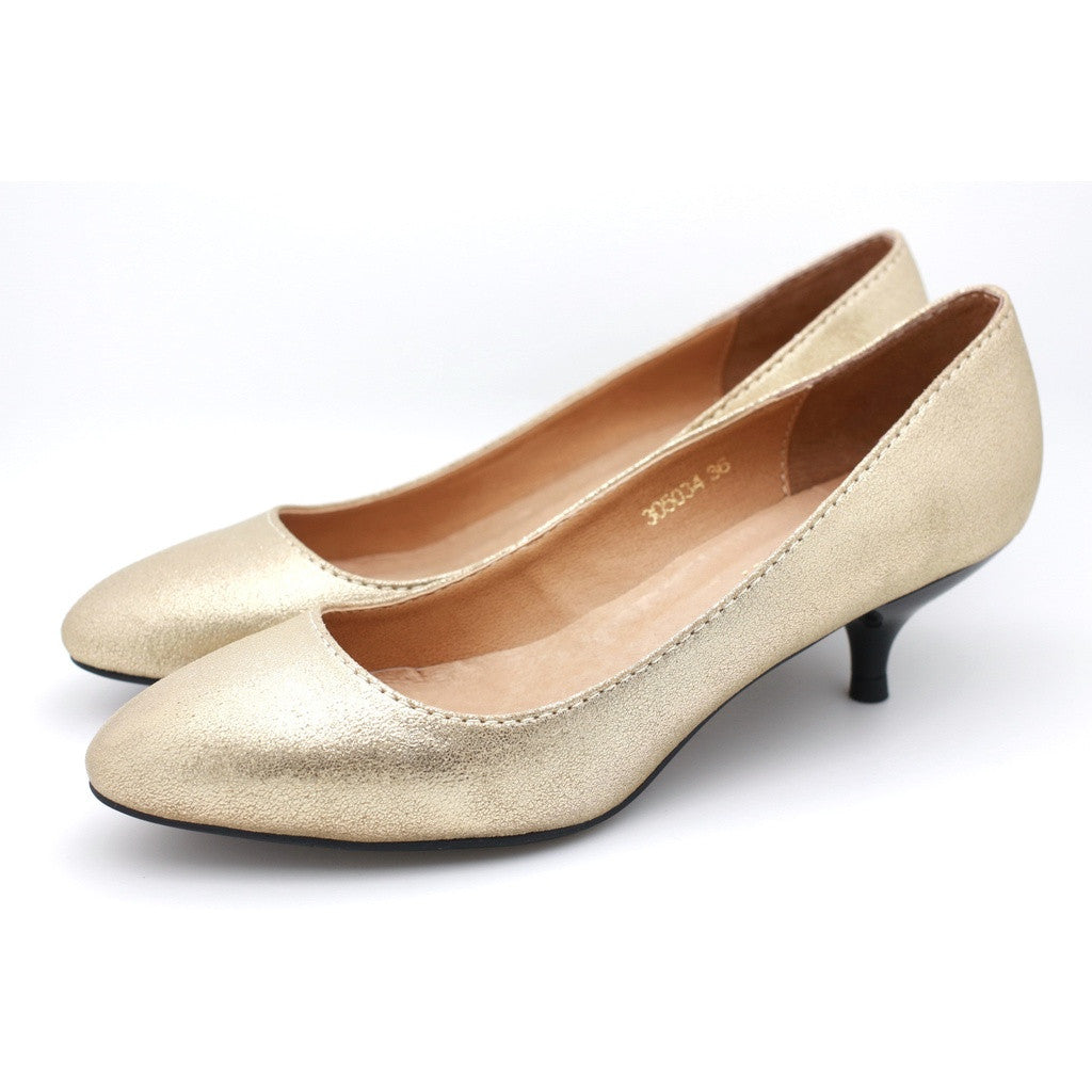 Metallic Leather Dress Pumps (Light Gold)