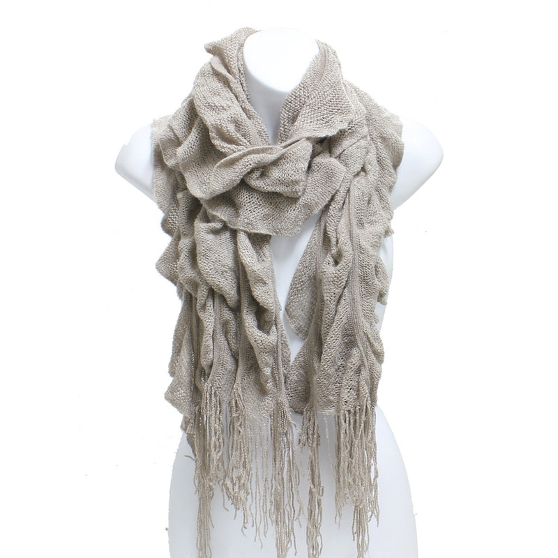 Womens Winter Knit Ruffle Beige Scarf With Fringe