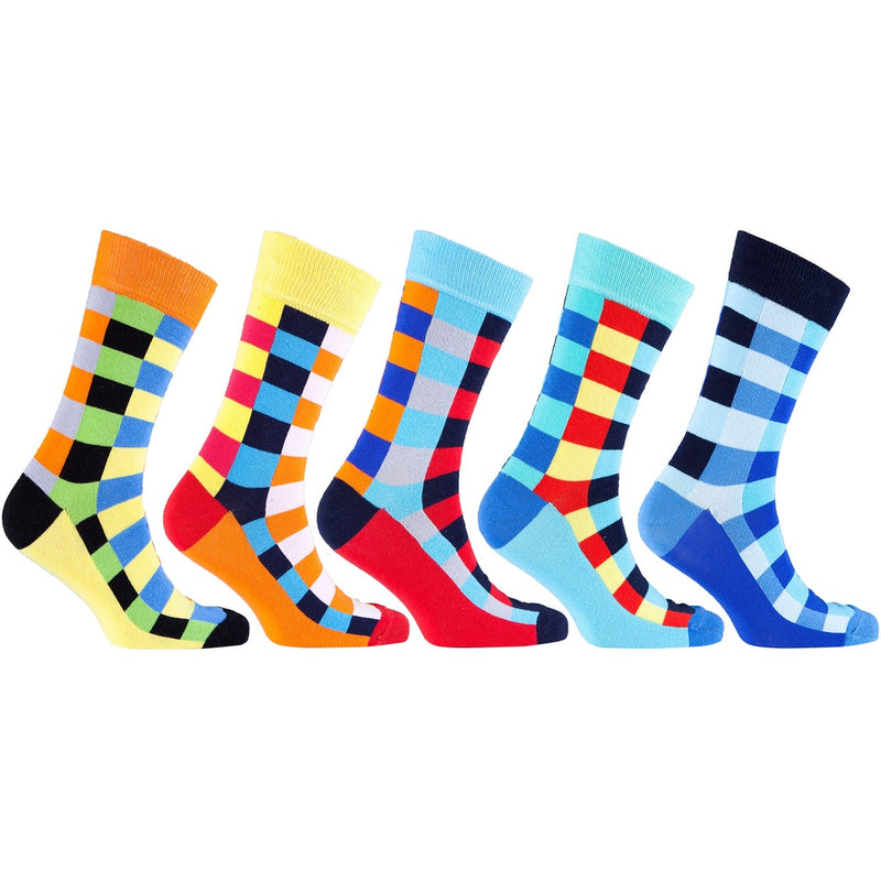 Men's 5-Pair Colorful Patterned Socks