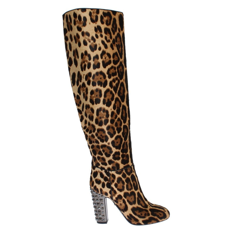 Leopard Pony Hair Leather Boots Shoes