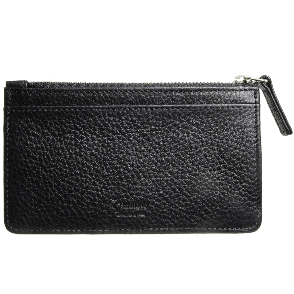Pebbled Calf Leather Zip Card Wallet Black