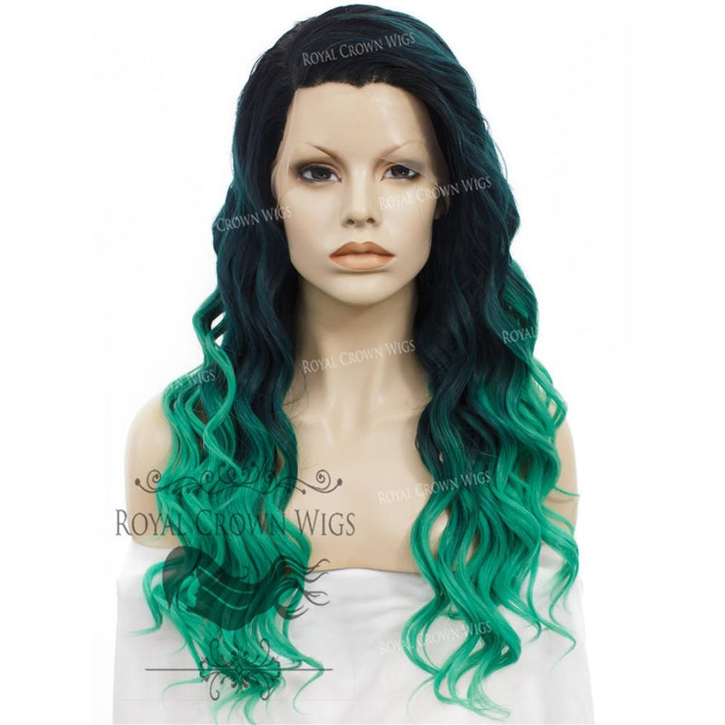"24"" Synthetic Lace Front with Wave Texture in Dark Green to Light Green Ombre"
