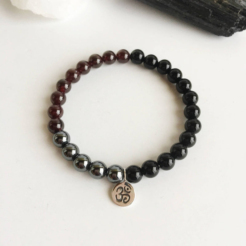 Grounding & Protection - Black Onyx, Garnet & Hematite Bracelet