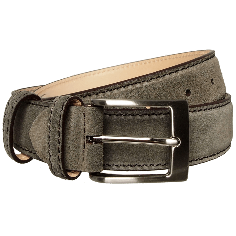 Lacquered Edged Suede Belt Grey