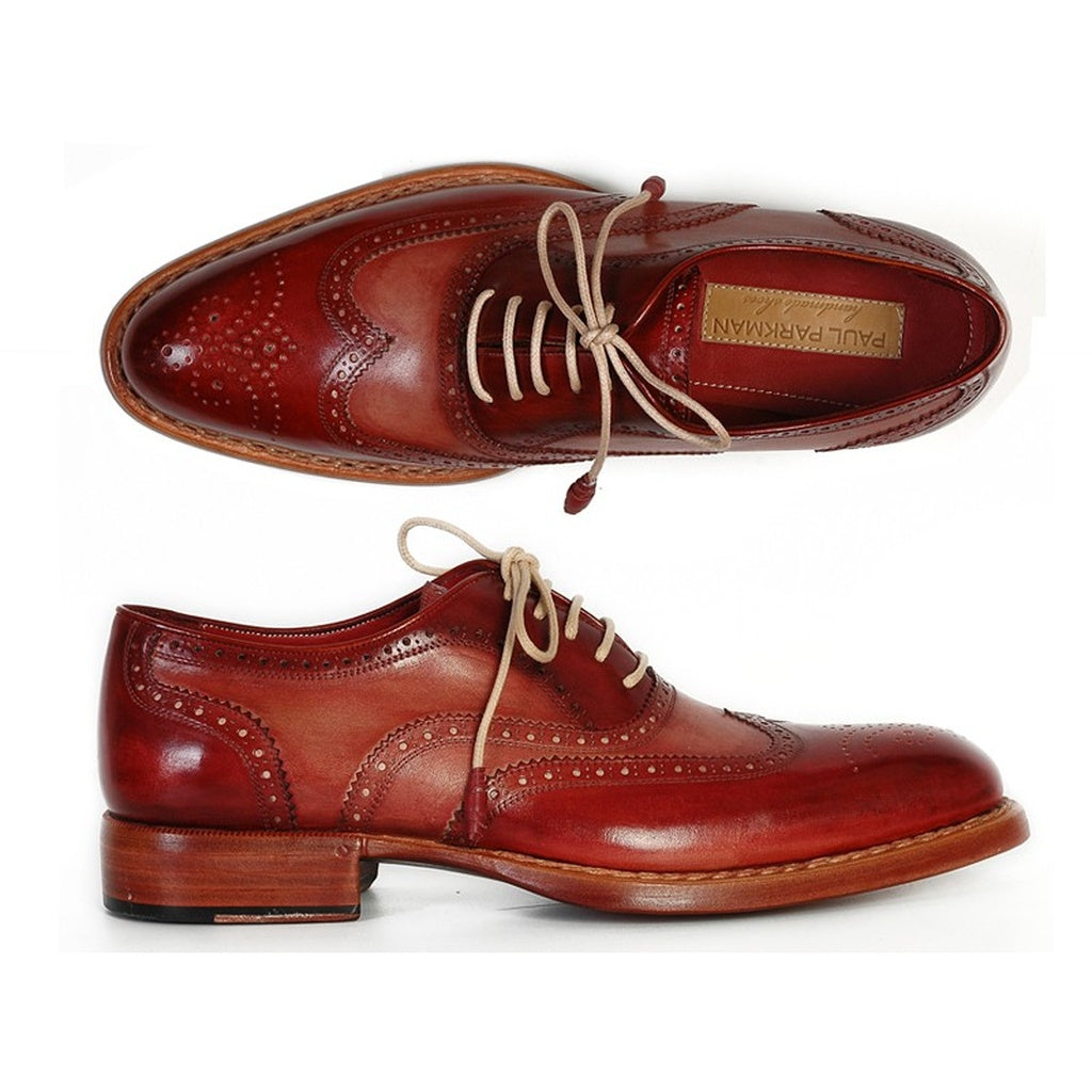 Paul Parkman Men's Wingtip Oxfords Bordeaux & Camel (ID#027B)