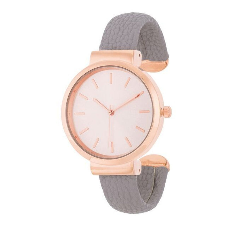 Rose Gold and Leather Watch Cuff