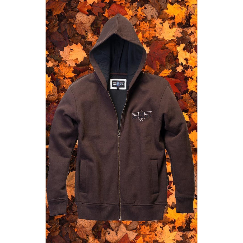 Men's Zip Hoodie In Coffee
