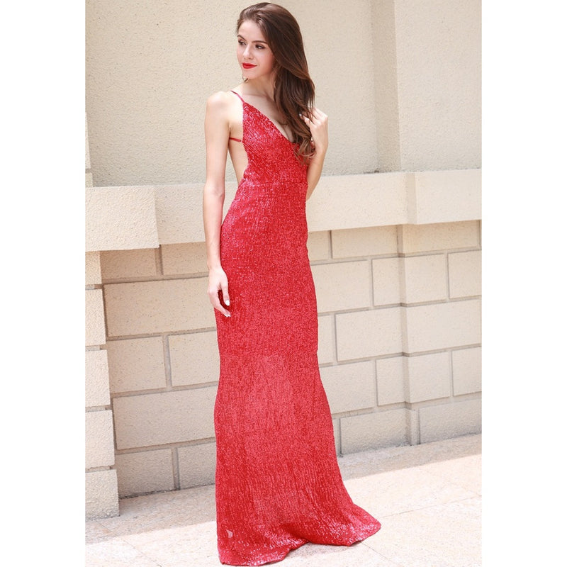 Red Sequin Evening Gown
